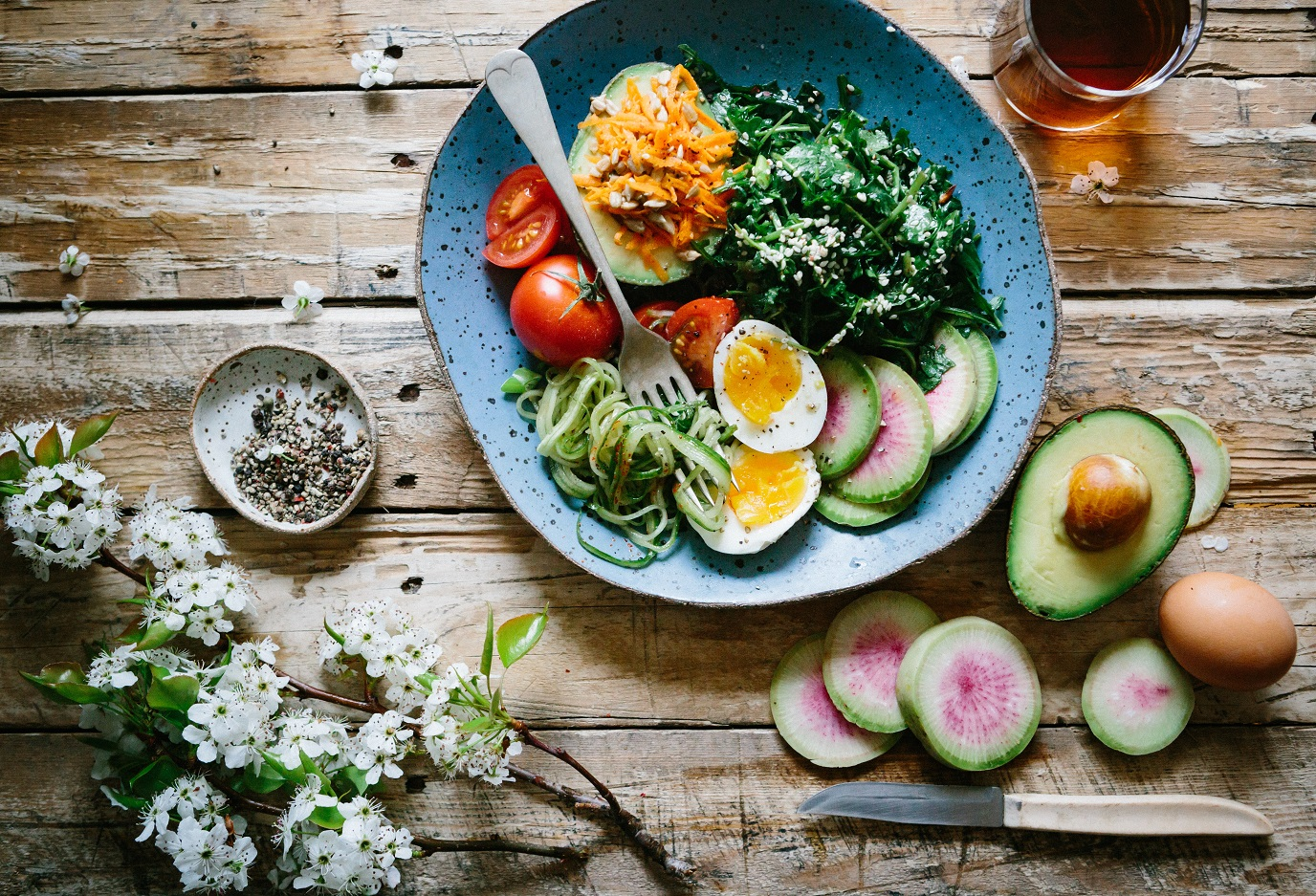 Plate with colorful veggies