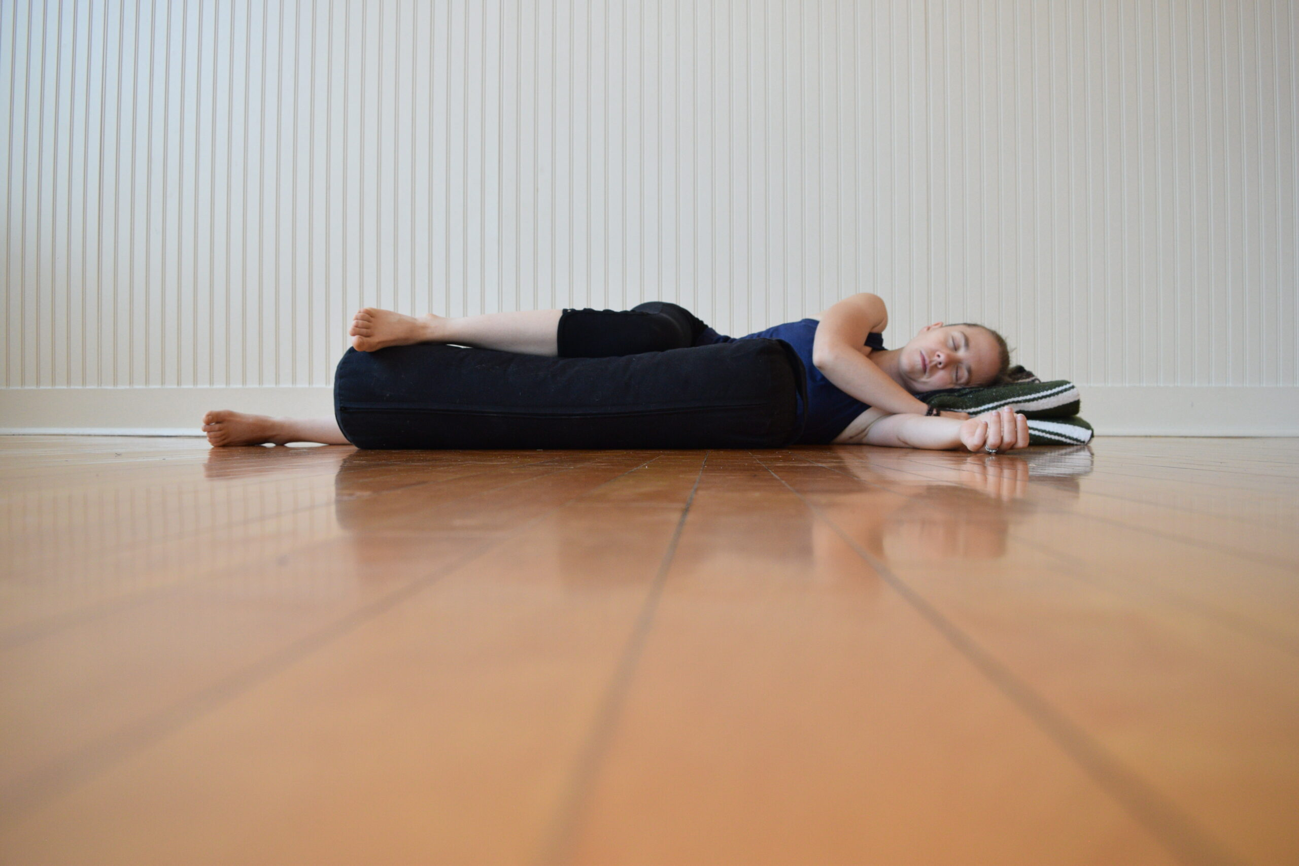 Woman in mindful yoga pose